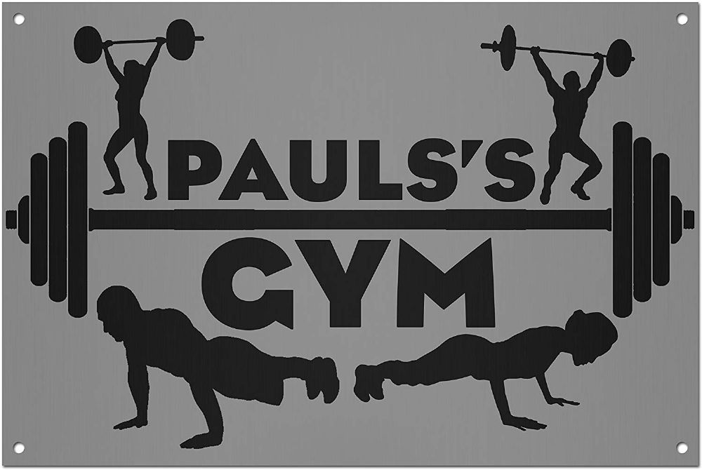 Personalised Your Own Gym Name Brushed Aluminium Metal Sign